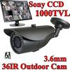 Vanxse CCTV 1000TVL Sony CCD Outdoor Security camera 36IR 3.6mm wide lens CCD camera Surveillance camera System w/ Bracket