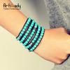 Artilady New 2014 nature turquoise stone bracelets stacking Leather bracelets gift for women