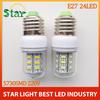 High lights E24 LED Light 220V E27 led bulbs & tubes Corn Bulb E27 5730 24LED Lamps 5730 SMD 9W Warm White White free shipping