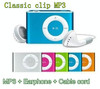 Mini clip mp3 player music player memory card reader with TF card slot MP3+Earphone + USB.