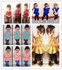 Free shipping 1pcs,New 2014 summer Short sleeve skirt coat + jeans clothing set, girls clothing Sets,kids clothes sets, 5 style