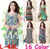 Women Summer Dress 2015 New Sexy V-neck Sleeveless Print Bodycon Dresses Casual Plus Size Women Clothing B1025
