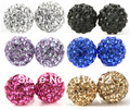 Free Shipping! 6 Mixed Lot 925 Sterling Silver Disco Ball Pave Bead Shamballa Earrings Crystal Stud Earrings 6mm
