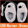 Cute Grey Piggy Plush USB Foot Warmer Shoes Electric Heat Slipper C1295 Free Shipping Wholesale