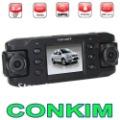 "Carcam III X8000 Dual Camera Car GPS Black Box 2.3"" TFT LCD + GPS Module+ G-Sensor +Dual Lens140 Degree Wide Angle Car DVR Free"