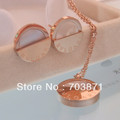 SONLIN New items factory price! Wholesale! Rose Gold Titanium steel jewlery sets:earring+nekclace SE011