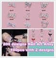 Wholesale Pro Salon Express 200 styles for choose 3d metal nail art decorations Alloy 100pcs/bag + Free Shipping NA200
