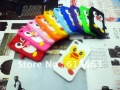 100pcs case+100pcs touch pen Cute 3D Penguin silicone back soft case cover for iphone 4 4G 4S,free shipping