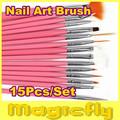 [FG001]15 Pcs Nail Art Design acrylic brush UV Gel Set Painting Draw Pen Pink Handle Brush Tips Tool
