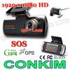 "In Stock! CarCam Dual Lens Car Camera DVR /2.7"" LCD+GPS/G-Sensor+158degree Wide+ External Rear View Camera 1920x1080 20FPS H.264"