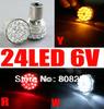 Free Shipping, 2pcs 1156 6V 24 SMD LED BA15S Brake/Tail/Stop/Singal CAR Light Bulb white/amber/red