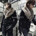 Black Men Winter Slim Fit Fur Collar Design Coat Jacket
