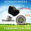 10pcs/lot Par20 Led Lamp E27 Dimmable 9W 12W 15W Spotlight Led Light Led Bulbs 85V-265V Energy Saving