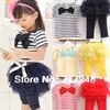 2014 NEW Girls clothing set free shipping Kids set summer wear Short sleeve suit Children clothing suit t shirt+pants stripe bow