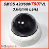 !free shipping! 700TVL CCTV indoor Dome camera 3.6/6mm lens Color day night dual security Dome CMOS NTSC / PAL CCTV Camera