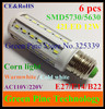 Free shipping 6 pcs 12W 42 LED 5630 5730 SMD E27 E14 B22 LED Corn Bulb Light Maize Lamp LED Lamp LED Lighting Warm/Cool White