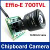 1/3'' SONY CCD Effio-E DSP 700TVL 9-22mm Zoom Lens CCTV Security PCB Board Color Camera  0.001 Lux