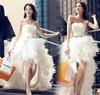 Free Shipping, Wedding Formal Dress Cheongsam Short Front with Trailing Wedding Dress Bridal Dress New Drop Shipping PD0041
