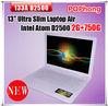 F wholesale cheap mini laptop computer 13 inch 2G/750G Intel Atom Processor D2500 (1M Cache 1.86 GHz) windows 7