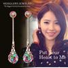 Neoglory Charm Czech Rhinestone Gold Plated Long Drop Dangle Earrings Women Fashion Bridal Jewelry Gift Russia 2014 New Brand