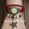 Brand Women Dress Watch New Style Starfish Classic Bracelet Leather Strap Wristwatch reloj de pulsera Free Shipping VIS-51