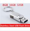 U disk 8GB 16GB 32GB stainless steel usb flash drive 32GB 16GB 8GB metal USB 2.0 Flash Memory Stick Drive U Disk
