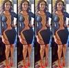 new Womens Celebrity Midi Bodycon dress, Ladies patchwork sexy party bandage dress, latest special sleeve black bodysuit Dress