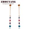 Top Quality Mmulticolour CZ Diamond 18K Rose Gold Plated Stud Earrings Jewelry Austrian Crystal Wholesale ZYE715 E714