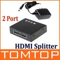 2 Port HDMI Switch HDMI Splitter for HDTV 1080P HDMI PORT With Power Adapter ,Free Shipping + Drop Shipping