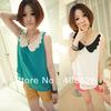 2013 Vintage Women Girl Cute Color Blouse Sleeveless Double Bow Collar Shirt Chiffon T-Shirts free shipping 5009