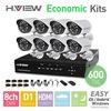 8CH D1 HDMI DVR 8PCS 600TVL IR Outdoor Weatherproof CCTV Camera 24 LEDs Home Security System Surveillance Kits