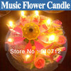 Free Shipping 5pcs/lot Music Blossom Lotus Flower Candle,Birthday Party gift beautiful waterproof candlewick candle Brand new