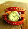 Punk Fashion watch 6 COLORS Wholesale Real Cow Leather bracelet watch women Roman Wrist Quartz Watch kow004