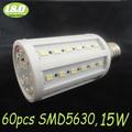 15W, E27 LED corn bulb light ,warm white,pure white, 60pcs SMD 5630 LEDs,high quqlity,High-Brightness,Free Shipping,Wholesale,