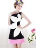 2013 Casual Women's Print Flower Sleeveless Dress Summer O-Neck Black And White Powder Dresses Cotton+Polyester 4 Size FWO101014