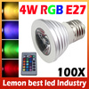3W 4W E27 RGB LED Bulb 16 Color Change Lamp Spotlight 110V/220V With IR Remote For Home Party Decoration