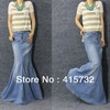 Free Shipping 2014 New Fashion Long Maxi Denim Blue Skirts For Women Floor length Mermaid Fish Tail Jeans XL Skirts With Slit