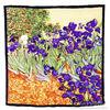 Hijab Fashion Scarfs 2014 New Satin Scarf Vibrant Painting 100% Charmeuse Silk Luxury Scarf Van Gogh's Irises Big Square Scarves