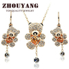 ZYS027 Lovely Bear 18K Gold Plated Lovely Style Jewelry Necklace Earring Set Made with Austrian SWA Element Crystals
