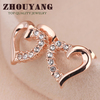 Top Quality ZYE327 Hollow Heart Half Of Crystal 18K Rose Gold Plated Stud Earrings Jewelry Genuine Austrian Crystal Wholesale
