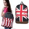 Promotion!!!3Pcs/Lot 2014 Hot Sale Unisex Punk School Book Campus Packbag UK/USA Flag Canvas Backpack 51
