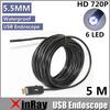 Newest Xinray Super Mini 5.5mm Dia USB Endoscope 1.3MP 720P HD Endoscope Camera 6LED 1080*720 Borescope Insepction Camera IC5M
