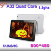 Bluetooth 1024*600! HD screen 1G/8G Free shipping android tablet pc Cortex A8 dual camera android 4.2 9 inch A23 tablet pc