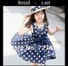 2014  Lolita Girls Chiffon Dress Summer Baby Girls Dress  Navy / White Polka Dot Summer Dress vestidos de menina IN Stock