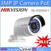 4 pcs/lot Hikvision Original ip camera infrared waterproof network camera DS-2CD2032-I 3MP IR bullet ip camera Can support PoE