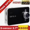 "K6000 Car DVR Camera Full HD 1080P 2.7""Screen+25FPS+G-Sensor+Night Vision Car Recording Dual LED Lens Car Camera Video Recorder"