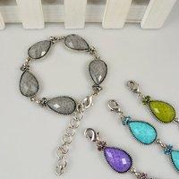Comercio al por mayor 4 piezas de plata chapada de resina Pulsera de cristal crack retro cóctel joyas gratis B040 Shipping (China (continental))