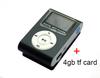 1PC Black Metal MINI clip LCD screen music mp3 player with 4gb micro sd card In stock