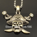 10pcs Free Shipping Steel Men's Skull Pendant Necklace WITH stainless steel chain Fashion Knife Pirate Skull Necklace