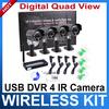 Digital 2.4Ghz Wireless 4 Night Vision waterproof surveillance Camera Security CCTV System DVR Kit Support  VISTA/WINDOWS7 32Bit